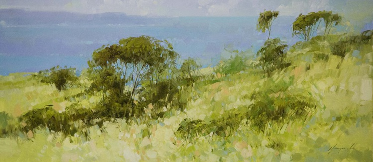 Ocean View Large Original Handmade oil painting for Living room  One of a kind - Image 0