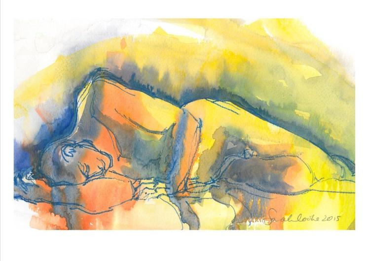 Blue-orange man lying - Image 0