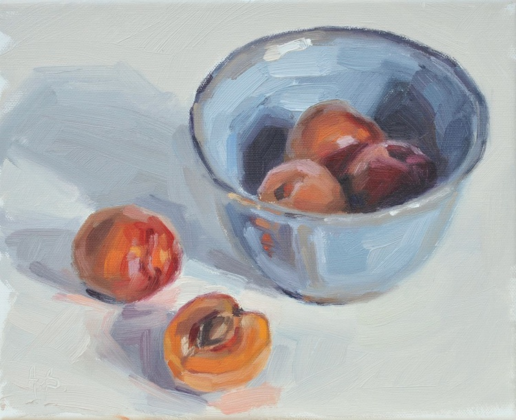 Apricots and blue bowl - Image 0