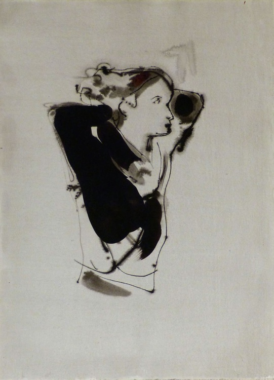 Woman with a Black Scarf, 29x41 cm - Image 0