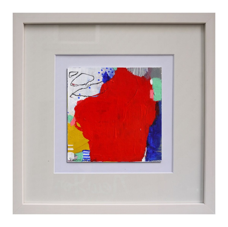 Small Treasure #10 | Miniature | Acrylic Mixed Media | red blue white teal orange - Image 0