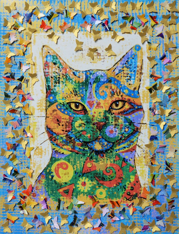 Cat and Butterflies - Image 0