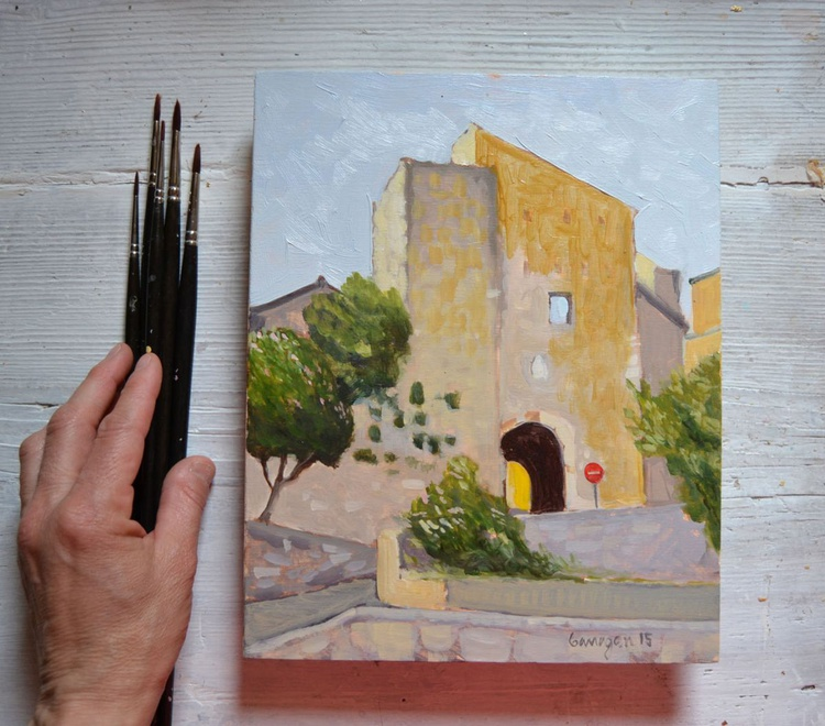 The Entrance into Porchiano del Monte Umbria Plein Air Oil Painting - Image 0