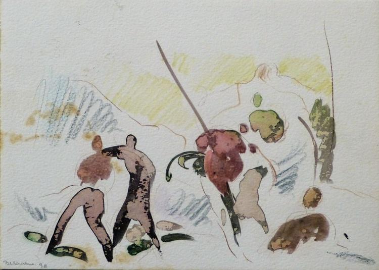 Dynamic drawing, 25x18 cm - Image 0