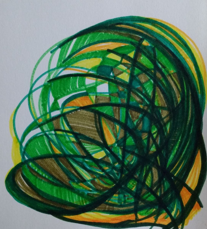 Green and Yellow Energy Drawing (13cm x 14cm) - Image 0