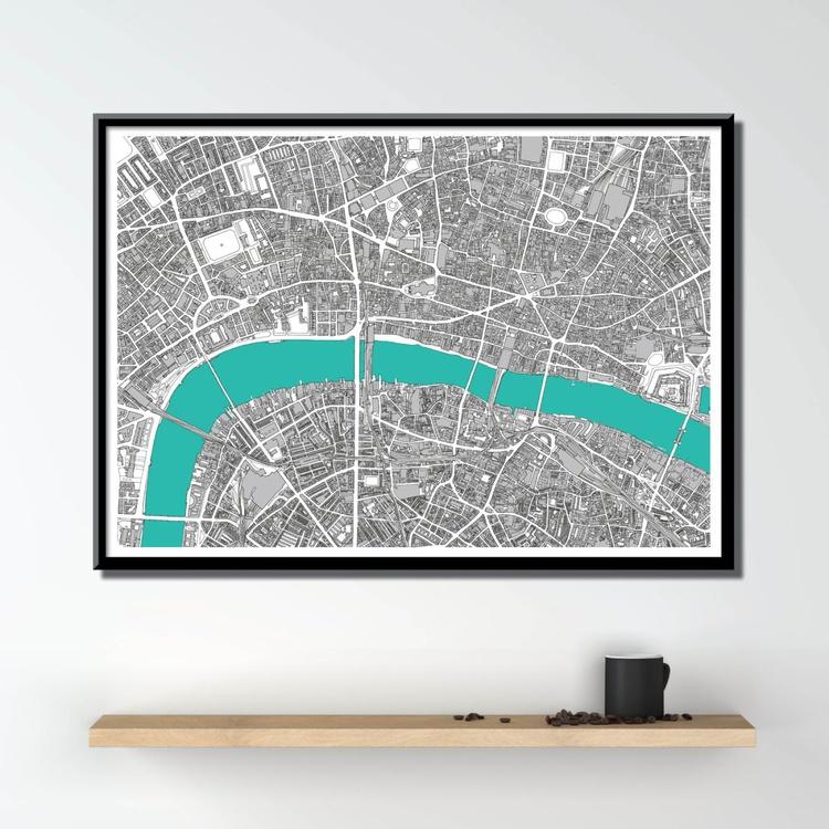 London Map Art, Hand Drawn Historic Map - Image 0