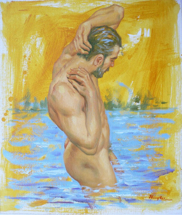 ORIGINAL OIL PAINTING BODY ART MALE  NUDE IN THE SEA ON LINEN#16-7-26 - Image 0