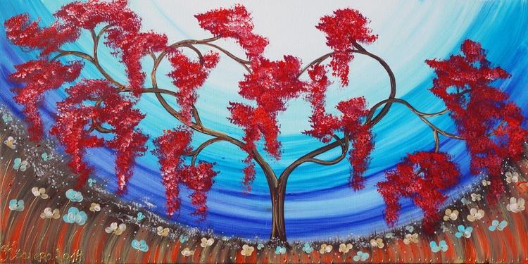Cherry blossom 36 blue sky painting flowers decor original floral art 50x100x2 cm stretched canvas acrylic sakura art wall art by artist Ksavera - Image 0