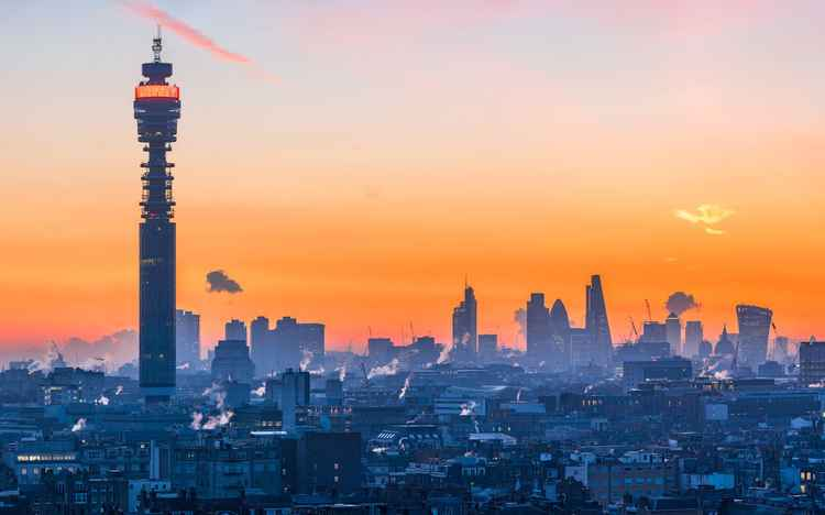 Dawn over London with BT Tower