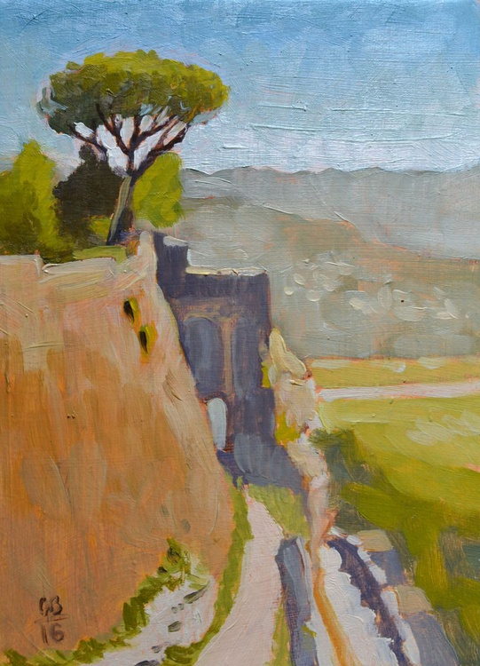 The View from the Fortezza Albornoz in Orvieto Italy Italian Plein Air Landscape Oil Painting - Image 0