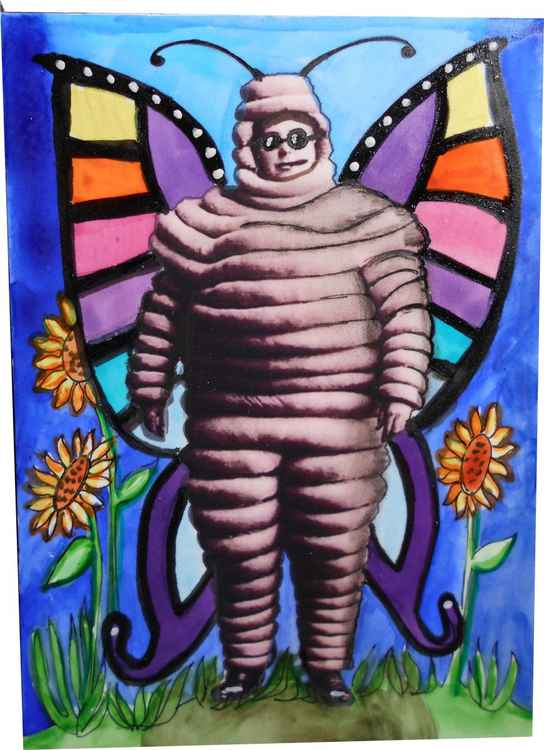 The Fabulous Psychedelic Butterfly Man Original Painting -