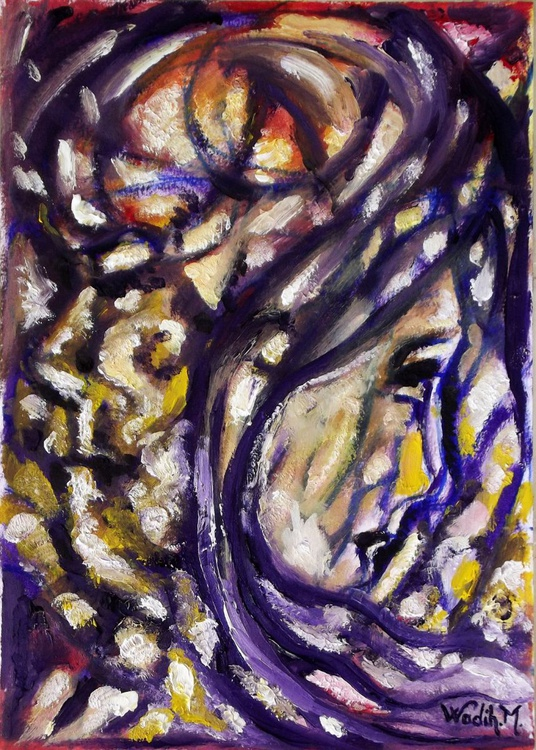 HE AND SHE - Contradicted Figures - Modern Painting - 20.5x30cm - Image 0