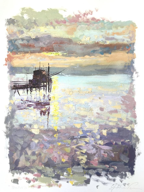Impressionist Sunset at the Sea Seascape Artwork, Sea Art, Wall Art, Wall Paper, Room Home Decor, Small Painting, Bedroom Decor, Seascape Art, Landscape Art, Abstract Art, Gift for Her, Gift for Mother, Christmas Gift, Anniversary Gift, Gift for Him, Gift for Dad - Image 0