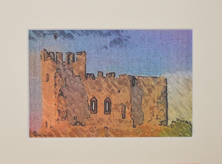 """Dudley Castle Original Ink Etched Painting On Canvas 8"""" x 6"""" - Image 0"""