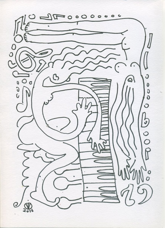 Piano Duet #2 (21x30 cm) abstract sketch original drawing two duet piano nude girls music - Image 0