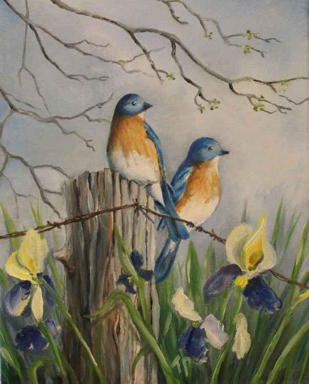 Bluebirds and Iris