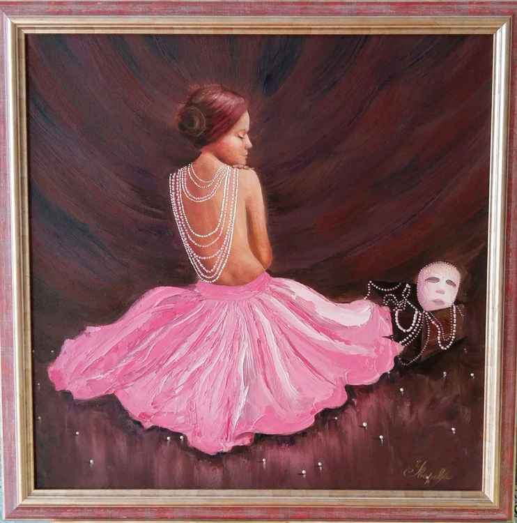 Dreams, 68x68 cm, original oil painting, in frame, FREE SHIPPING