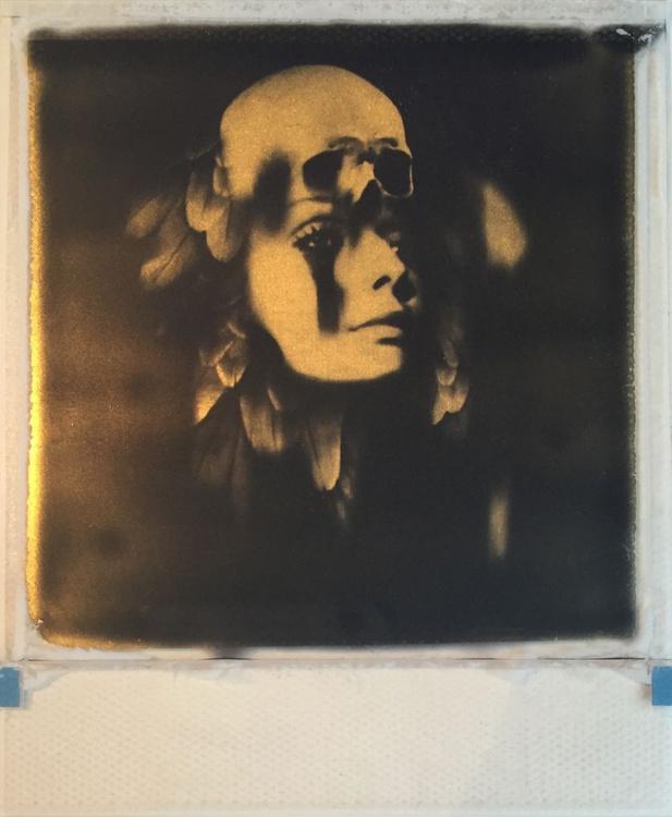 Death Mask -24ct Gold Leaf Polaroid Collage - Image 0