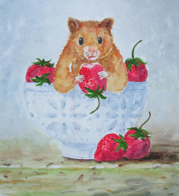 """""""CAUGHT RED HANDED"""", watercolour - Image 0"""