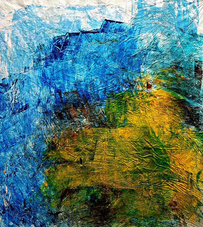 Senza Titolo 181 - abstract landscape - ready to hang - 72 x 81 x 2 cm - acrylic painting on stretched canvas - Image 0