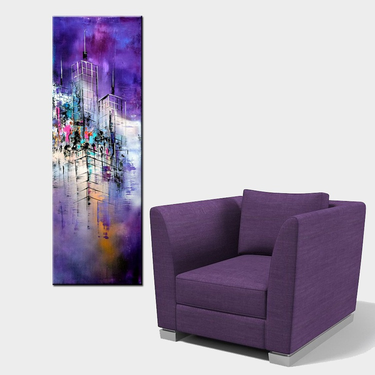 Purple Nights- Original Abstract painting, architectural painting, Purple painting, modern cityscape - Image 0