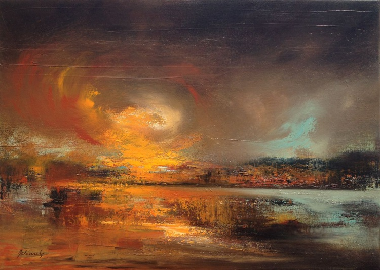 Connection Point - 50 x 70 cm, abstract landscape oil painting, earth tone colours - Image 0