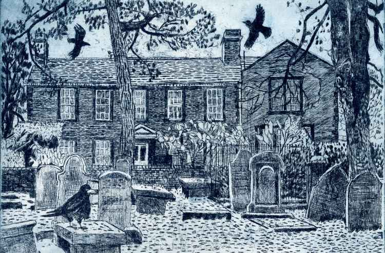 Parsonage with rooks, Haworth -