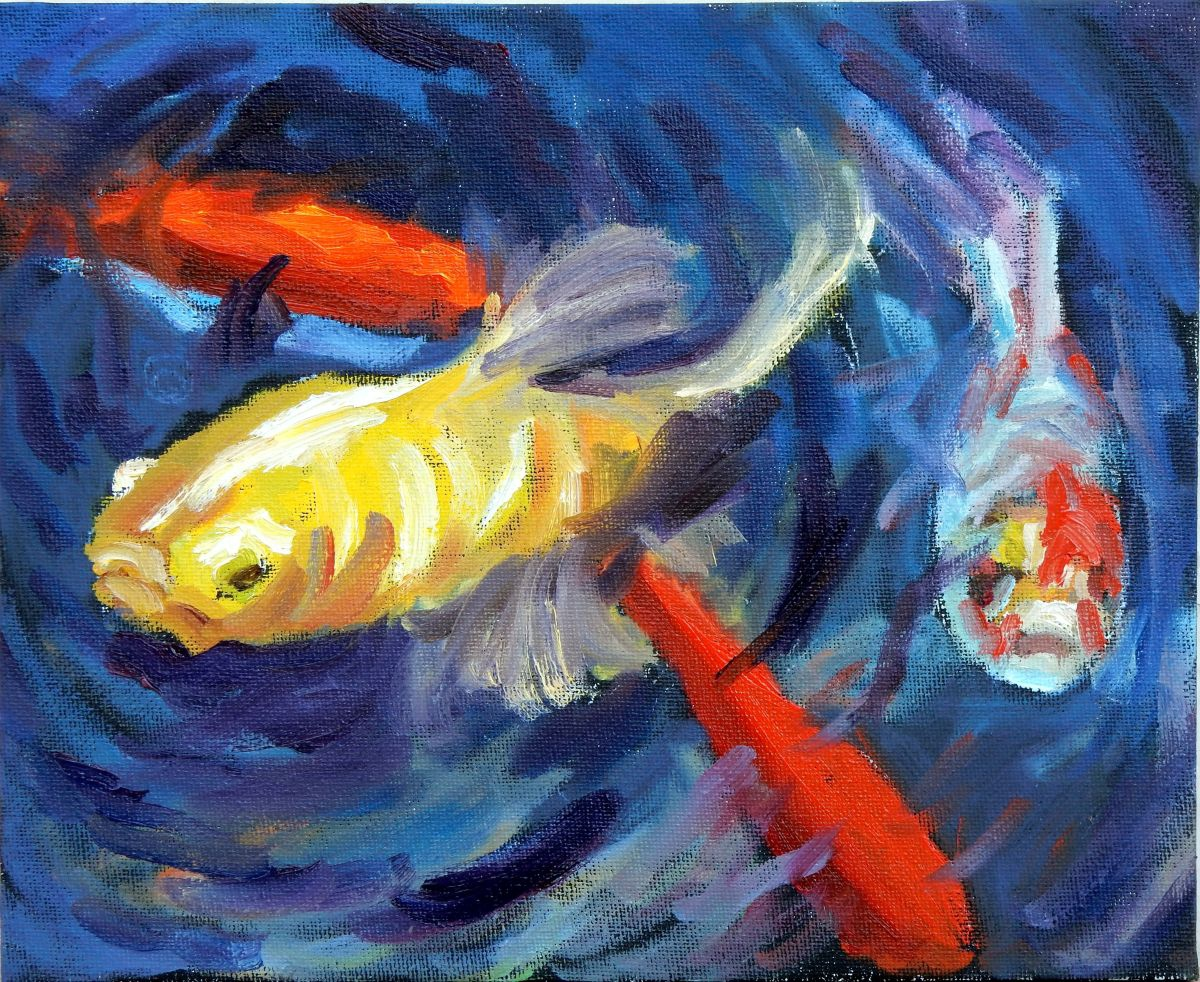 Koi fish in the pond 2016 oil painting by vita schagen for Koi fish pond help