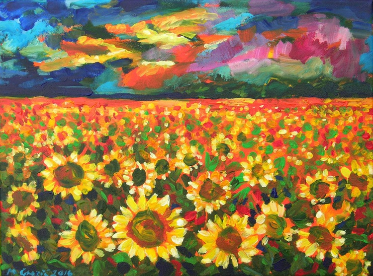 Dramatic skies over a sunflower field - Image 0