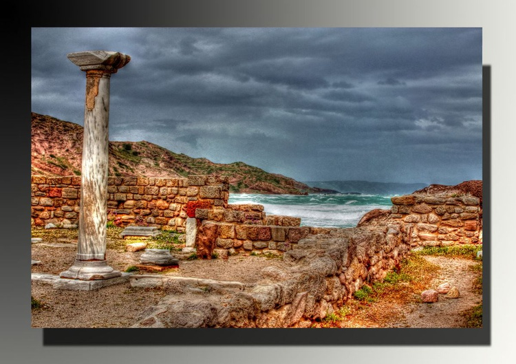 Ancient Cultures, Coastal Landscape, Greek Islands Photo, Seascape, Greece Photography, HDR, Travel photography, Rustic Colors, Mediterranean village life, Home decor, Windy sea, Waves and sea shore - Image 0
