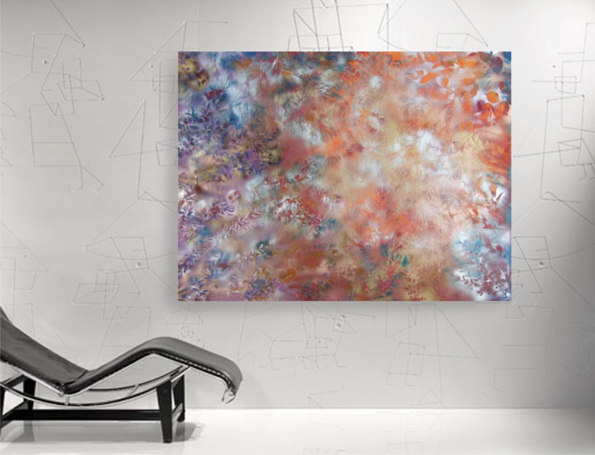 large abstract floral painting 120x160 cm unstretched canvas morning fog by artist ksavera 2013. Black Bedroom Furniture Sets. Home Design Ideas