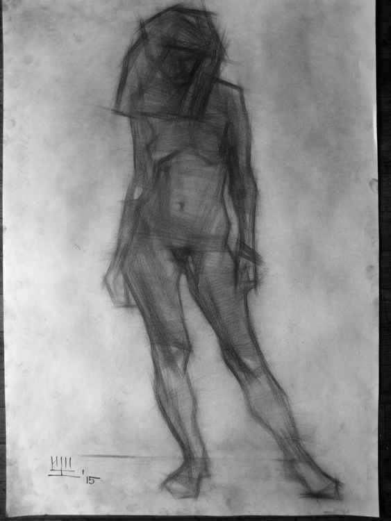 Standing nude figure. Graphics. 86x62cm. -