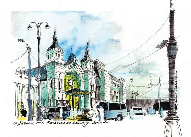 Urban sketch, Train Station, A4 plus passepartout