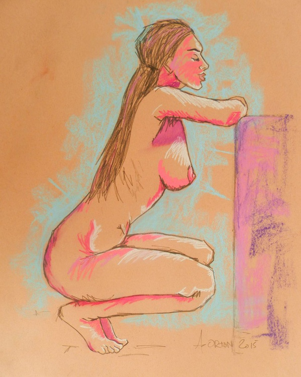 Female Nude Original Charcoal Pastel Figure Study Gesture Life Drawing Light In Pink - Image 0