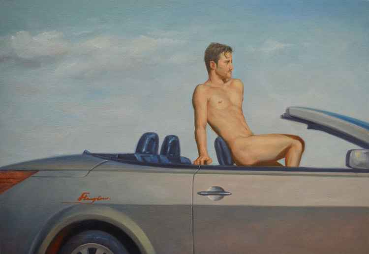 original classical male nude oil painting  man  on car on canvas#11-10-02 -