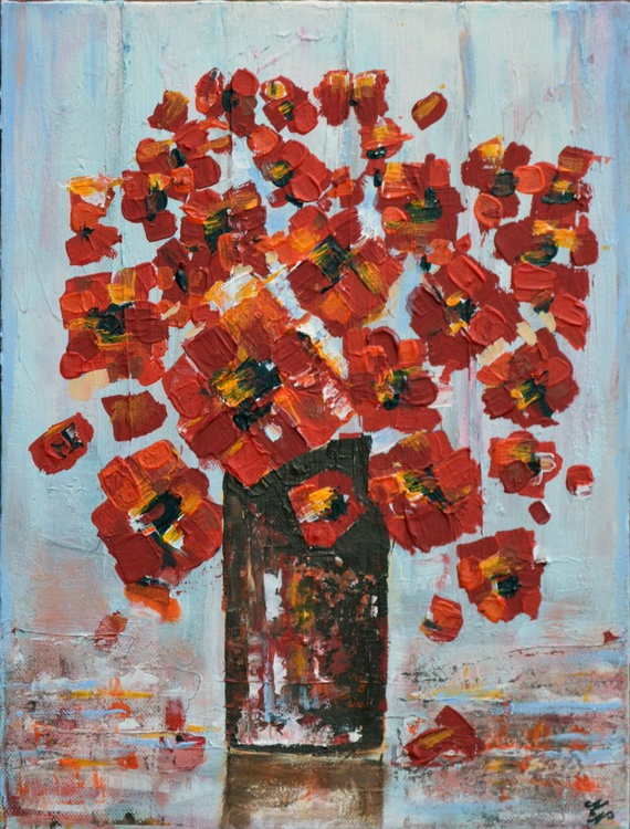 Bouquet of poppies-Deep edge canvas ready to hang - Image 0