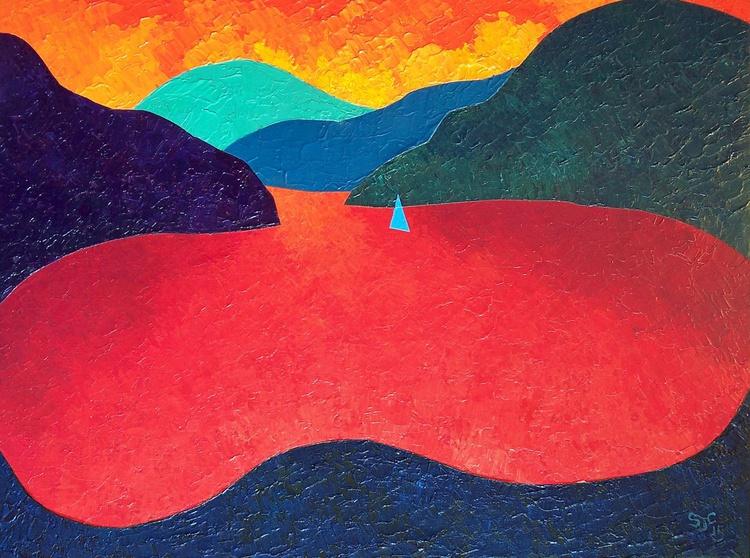 Blue Sail, Orange Sky - Image 0