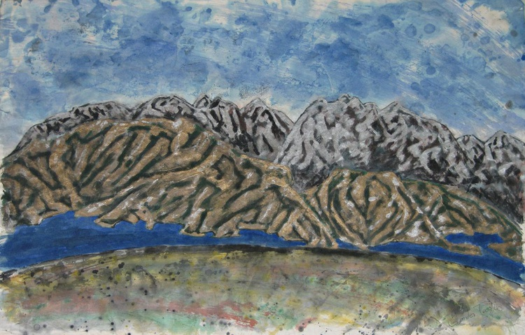 Untitled , mountainscape in silver & gold - Image 0