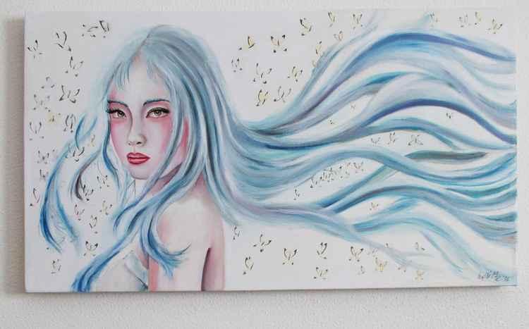 Alexia's blue hair