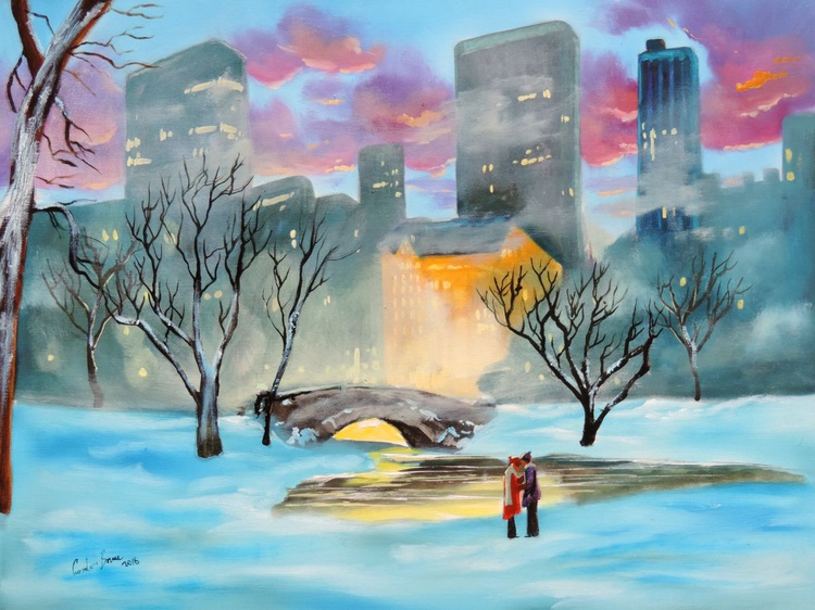 New York Winter in Central Park oil on canvas - Image 0