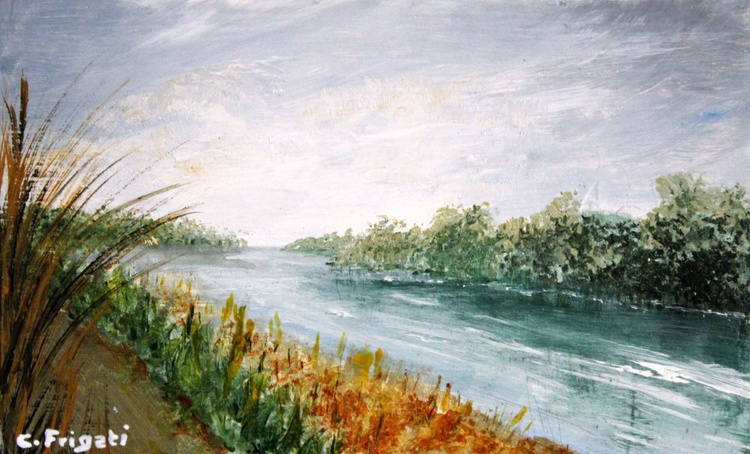 In Between on the River Po - Original Plein Air Painting - Image 0