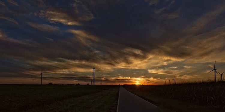 Prairie Road in Autumn Sunset -