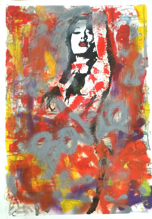 """""""Red Lip Graffiti"""" - original ink drawing and spray paint on paper - Image 0"""