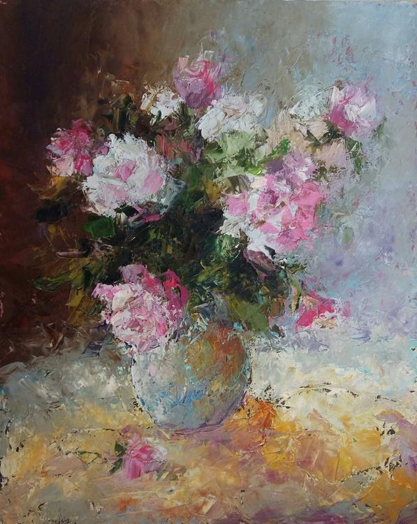Rose pastel, 40x50 cm, original artwork,  FREE SHIPPING - Image 0