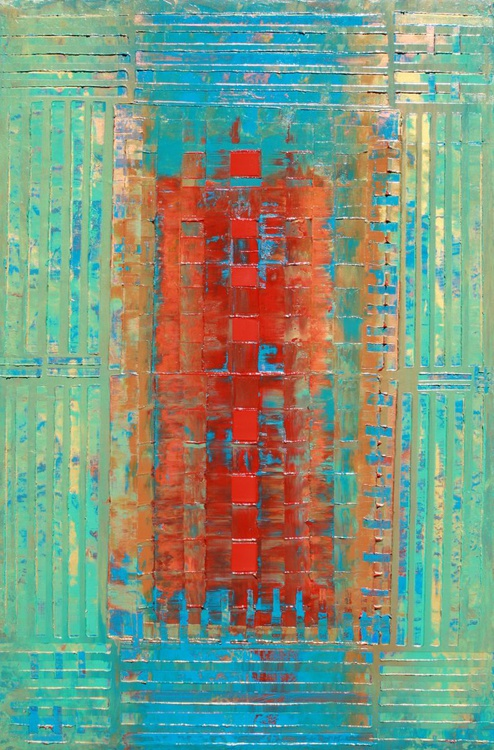 Primitive Abstract 7 Red Squares - Image 0