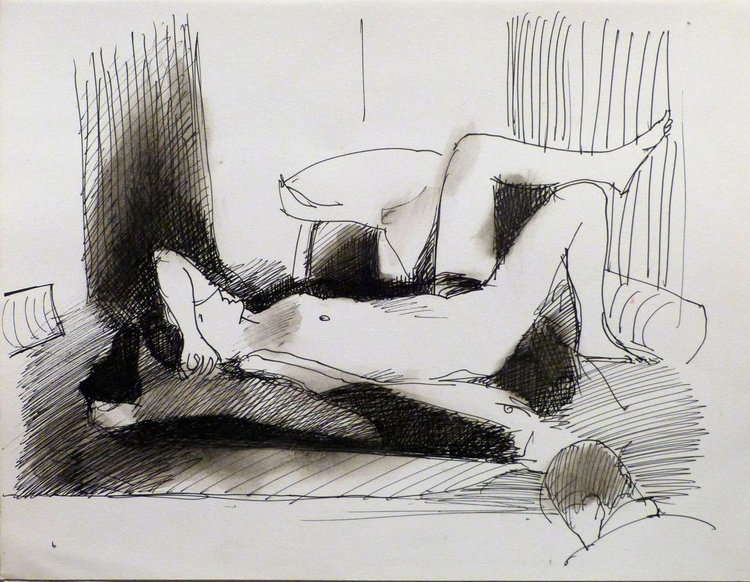 Nude lying on the Bed 3, 25x32 cm - Image 0