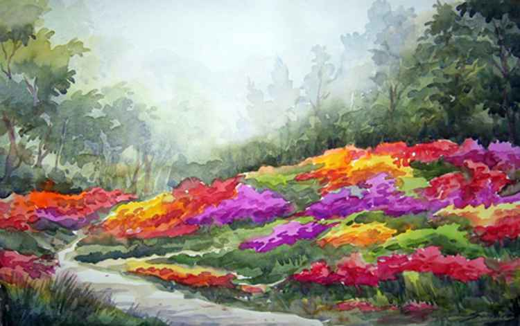 Flowers Garden & Forest-Watercolor on Paper Painting