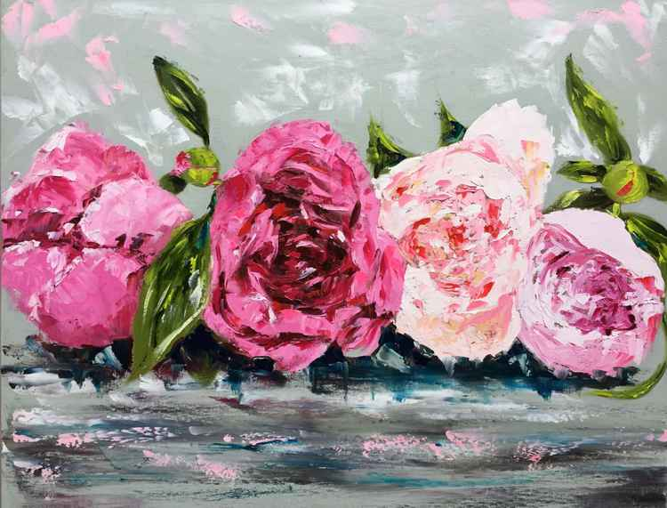 "Row or Peonies oil on canvas 24""x30"" -"