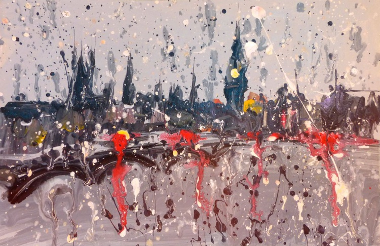 rainy London. original painting. 30x20 cm. unframed - Image 0