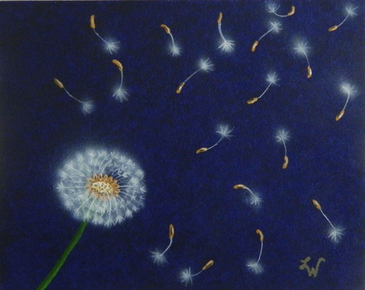Wishes - Modern unique, realistic dandelion painting - Image 0